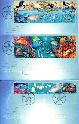 Christmas Island 1993 Marine Life set of 3 FDC