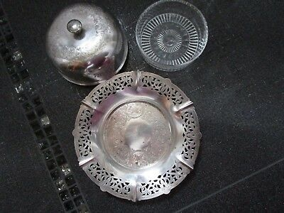 VIKING PLATE E.P COPPER Made in CANADA 3PC Serving/Butter Dish w/Lid VINTAGE