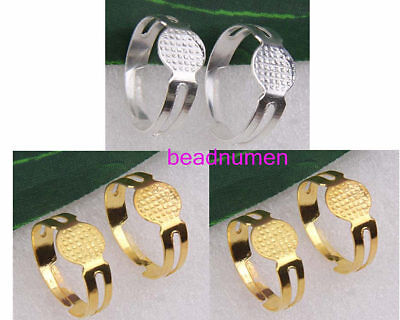 Lot 50Pcs Bright Silver/Gold Colour Adjustable Ring Blanks 8mm Flat Craft