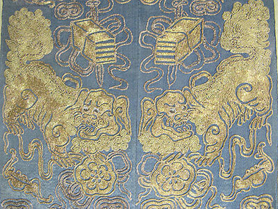 Qing Chinese Silk Embroidery Gold Sleeve Ends Lions Foo Dogs Daoist Symbols yqz