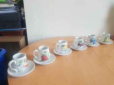 Set of 6 rare Portmerion Pomona coffee cups and saucers in good condition