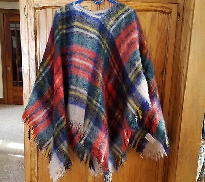 Vintage Colorful Plaid Mohair / Wool Poncho - Made in Scotland