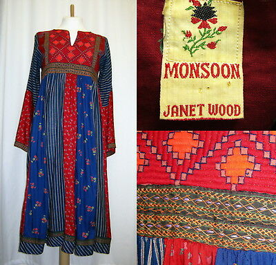"""VINTAGE Late 1970s Monsoon Janet Wood Hippy or Ethnic-type dress, Chest 38"""""""