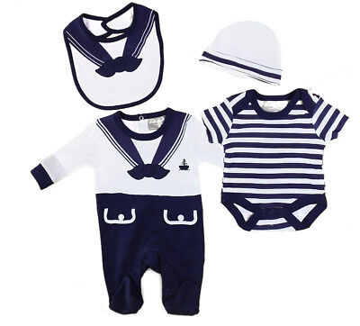 Baby Boys Layette 5 Pieces 100% Cotton Gift Set Sailor Nautical Outfit NB-6 Mths
