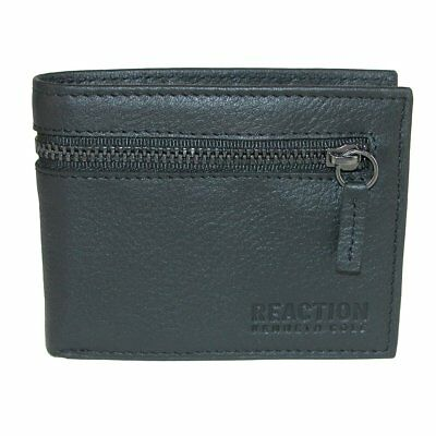 New Kenneth Cole Men's Leather RFID Slim Bifold Wallet with Zippered Pocket
