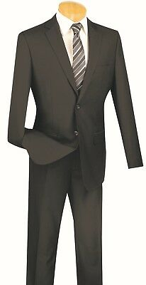 Men's Slim Fit Suit Single Breasted 2 Buttons Formal Wedding Prom Black SC900-12