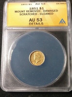 1851 Type 1 Coronet Head Gold One Dollar Coin ANACS AU-53 Details