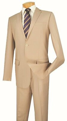 Men's Slim Fit Suit Single Breasted 2 Buttons Formal Wedding Prom Beige SC900-12