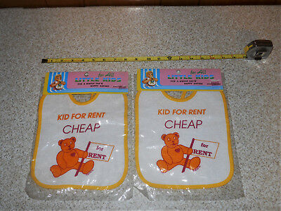 Lot of 2 Vintage NOS Kid For Rent Cheap Happy Eating Bibs Unused In Packages