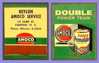 MINT 1950s Keylon Amoco Gas Full Match Book - Canton NC
