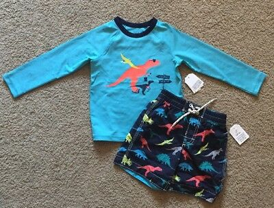 Toddler Boy Size 3 3T Baby Gap Dinosaur Print Rash Guard & Swim Trunks