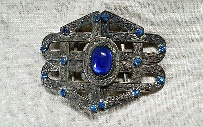 Beautiful Antique Silver Buckle with Blue Stones