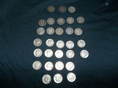 Lot of 27 mixed silver dimes,  years from 1842-1945.