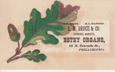 Estey Organs Bruce & Co Autumn Oak Leaf Victorian Trade Card