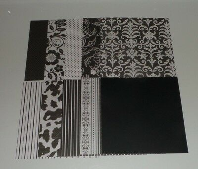 10 pieces of Black and White Scrapbook Paper, 6x6, Floral Stripe Polka Dot