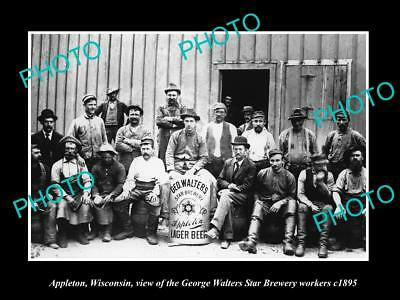 Old Large Historic Photo Of Appleton Wisconsin Walters Star Brewery Workers 1895