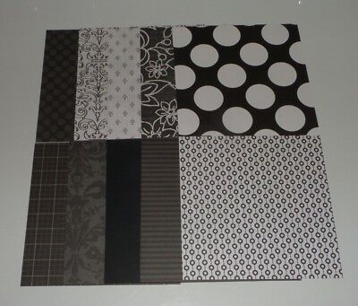 10 pieces of Black White Scrapbook Paper 6x6 Polka Dot Floral Fleur DeLis Stripe