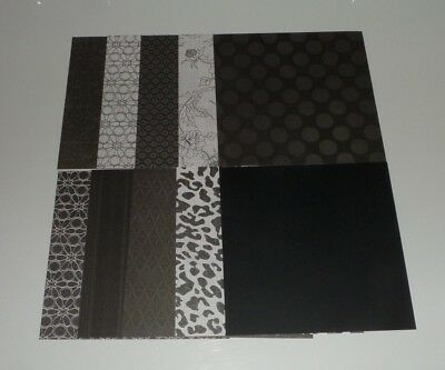 10 pieces of Black White Scrapbook Paper 6x6 Floral Ornate Polka Dot Safari