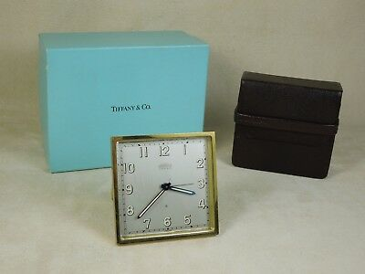ELEGANT Angelus for Tiffany & Co. Mid-Century Travel Alarm Clock w Leather Case