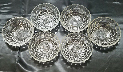 Vtg Anchor Hocking Depression Glass Bubble Clear,  6 Sm. Fruit Bowls circa 1940s