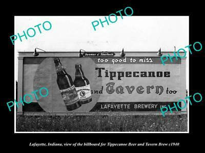 OLD LARGE HISTORIC PHOTO OF LAFAYETTE INDIANA, TIPPECANOE BEER BILLBOARD c1940