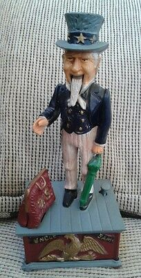 UNCLE SAM Cast Iron Mechanical Coin Bank Antique Replica *Vintage* Working Bank!