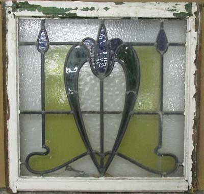 """MID SIZED OLD ENGLISH LEADED STAINED GLASS WINDOW Gorgeous Floral 25"""" x 23.25"""""""