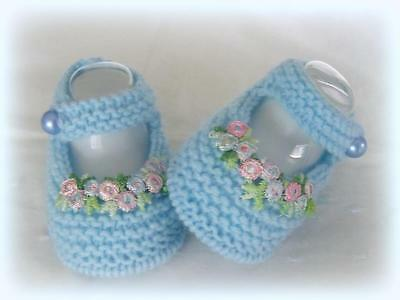 SWEET HAND KNITTED BOOTIES - NEW to fit Newborn-3 month old Baby or Reborn