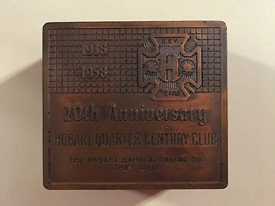 Hobart Quarter Century Club 1958 Troy, Ohio Wood and Metal Paper Weight
