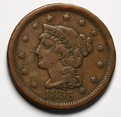 1855 US Braided Hair Large Cent Penny Upright 5s Coin