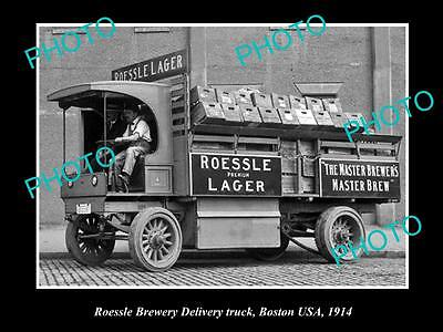 OLD LARGE HISTORIC PHOTO OF ROESSLE BREWERY DELIVERY TRUCK, BOSTON USA c1914 1
