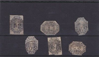 6 Tasmania imperf 6 pence Chalon stamps with numeral cancels.