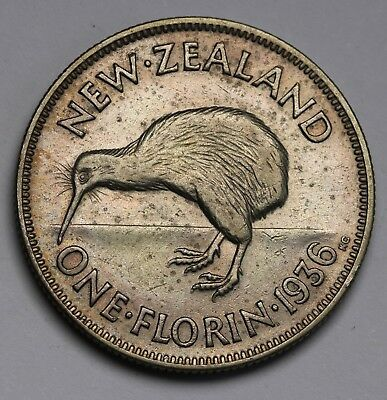 1936 New Zealand Florin KM# 4 Silver George V Key Date Coin RARE VF++