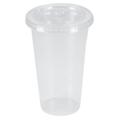 Benail 100 Sets 24 oz. Plastic CRYSTAL CLEAR Cups with Flat Lids for Cold Iced