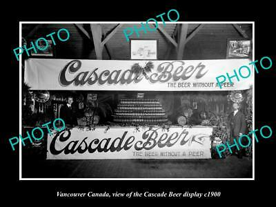 OLD LARGE HISTORIC PHOTO OF VANCOUVER CANADA, CASCADE BEER STAND DISPLAY c1900