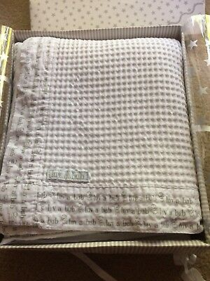 Waffle 100% Cotton Cot Blanket 'Luv a Bub'