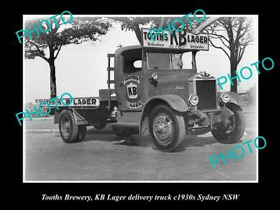 OLD LARGE HISTORIC PHOTO OF TOOTHS BREWERY KB LARGER DELIVERY TRUCK c1930s NSW 1