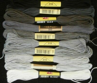 10 Pieces Stranded Cotton Embroidery Thread Mix - Black To White