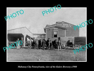 OLD LARGE HISTORIC PHOTO OF MAHANOY CITY PENNSYLVANIA, THE KAIERS BREWERY c1900