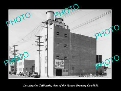 OLD LARGE HISTORIC PHOTO OF LOS ANGELES CALIFORNIA, THE VERNON BREWING Co c1935