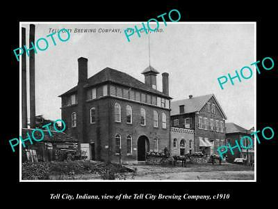 OLD LARGE HISTORIC PHOTO OF TELL CITY INDIANA, VIEW OF TELL CITY BREWERY c1910