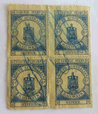 South Australia 1922 KGV 6d blue bock of four railway stamps used