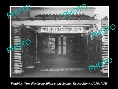 OLD LARGE HISTORIC PHOTO OF PENFOLDS WINE DISPLAY PAVILLION, SYDNEY SHOW c1930s