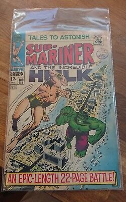 TALES TO ASTONISH # 100 - SUB-MARINER - Hulk damaged rear cover and pages.