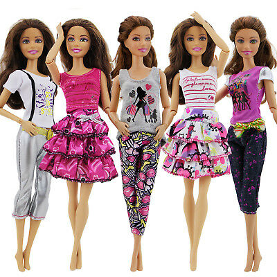 5 Pretty Outfit Top T-shirt Skirt Dress Pant Outfit Clothes For Barbie Doll Pink
