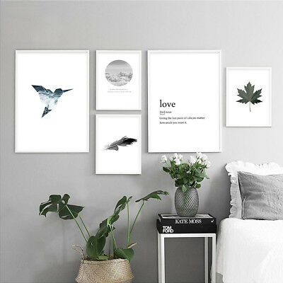 Bird Leaf Feather Canvas Art Poster Print Nordic Style Modern Home Decoration