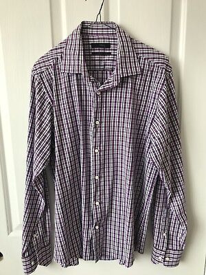 BLAQ Mens Long Sleeve Business casual purple white striped size L (41) READ