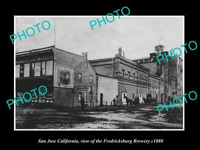 OLD LARGE HISTORIC PHOTO OF SAN JOSE CALIFORNIA, THE FREDRICKSBURG BREWERY c1880