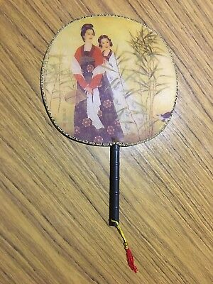 Chinese Style Traditional Painting Hand Fans Fabric Bamboo Circular Round Fan