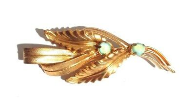 Czech Floral Leaf Brooch Green Glass Pin Vintage Gold Plated Metal Deco Handmade